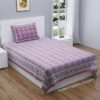 Light Violet Traditional Badge Single Bedsheet with One Pillow Cover