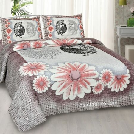 Mayur Vatika Peach Color King Size Bedsheet with 2 Pillow Covers Set