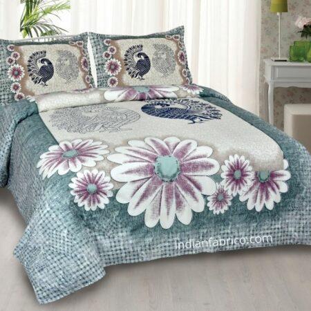 Mayur Vatika Teal Color King Size Bedsheet with 2 Pillow Covers Set