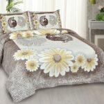 Mayur Vatika Yellow King Size Bedsheet with 2 Pillow Covers Set