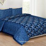 Procian Cotton Blue Boxy Beauty Double Bedsheet