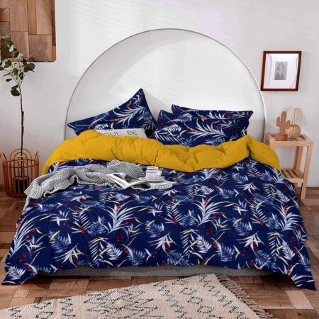 Royal Blue Floral Print Poly Cotton Double Bedsheet