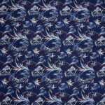Royal Blue Floral Print Poly Cotton Double Bedsheet Full View