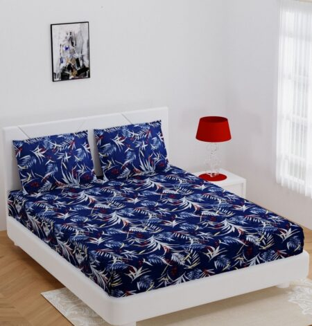 Royal Blue Floral Print Poly Cotton Double Bedsheet with 2 Pillow Covers Set