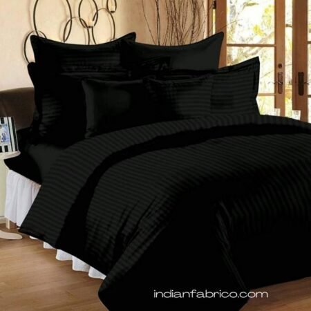 Solid Dark Black Satin Stripe Pure Cotton King Size Bedsheet with 2 Pillow Covers