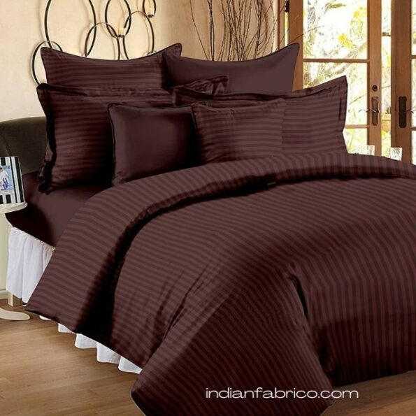 Solid Dark Brown Satin Pure Cotton King Size Bedsheet with 2 Pillow Covers