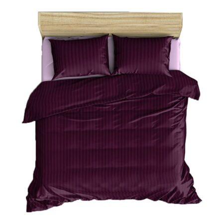 Solid Dark Purple Satin Stripe Pure Cotton King Size Bedsheet