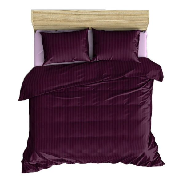 Solid Dark Purple Satin Stripe Pure Cotton King Size Bedsheet