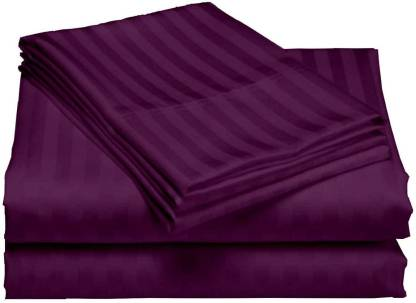 Solid Dark Purple Satin Stripe Pure Cotton King Size Bedsheet Closeup