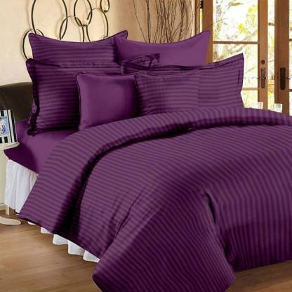Solid Dark Purple Satin Stripe Pure Cotton King Size Bedsheet with 2 Pillow Covers
