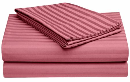 Thulian Pink Pure Cotton Satin Stripe King Size Bedsheet Closeup1