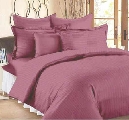 Thulian Pink Pure Cotton Satin Stripe King Size Bedsheet with 2 Pillow Covers