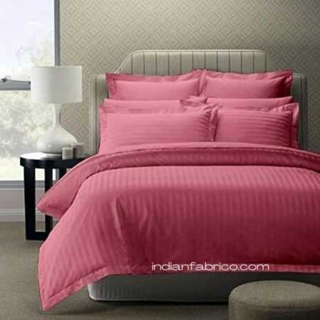 Thulian Pink Satin Stripe Pure Cotton King Size Bedsheet with 2 Pillow Covers