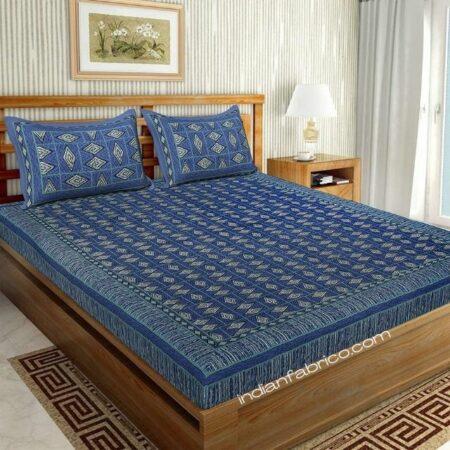 Geometric Shape Blue Color Pure Cotton Double Bedsheet