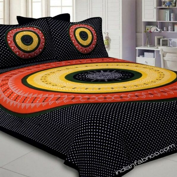 Traditional Sanganeri Bandhej Print Black Color King Size Pure Cotton Double Bedsheet