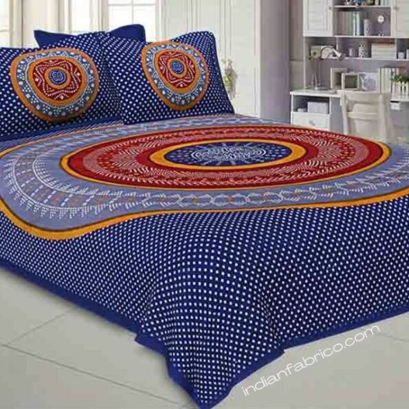Traditional Sanganeri Bandhej Print Blue Color Pure Cotton Double Bedsheet