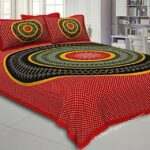 Traditional Sanganeri Bandhej Print Red Color Pure Cotton Double Bedsheet