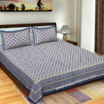 Traditional Sanganeri Peacock Print Blue Color Double Bedsheet