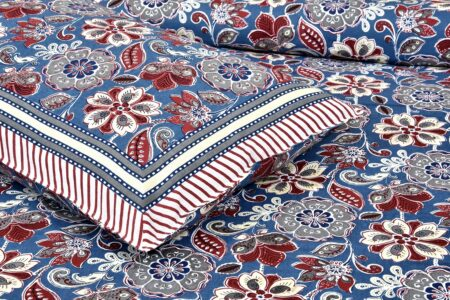 Awesome Mausam Blue Flower Print Pure Cotton Double Bedsheet Closeup