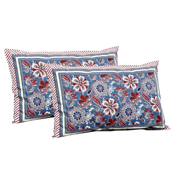 Awesome Mausam Blue Flower Print Pure Cotton Double Bedsheet Pillow