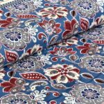 Awesome Mausam Blue Flower Print Pure Cotton Double Bedsheet Side Pose