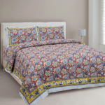 Awesome Mausam Maroon Flower Print Pure Cotton Double Bedsheet