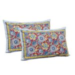 Awesome Mausam Maroon Flower Print Pure Cotton Double Bedsheet Pillow