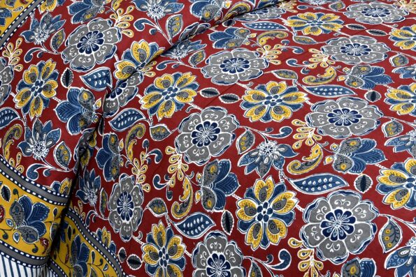 Awesome Mausam Maroon Flower Print Pure Cotton Double Bedsheet Side View