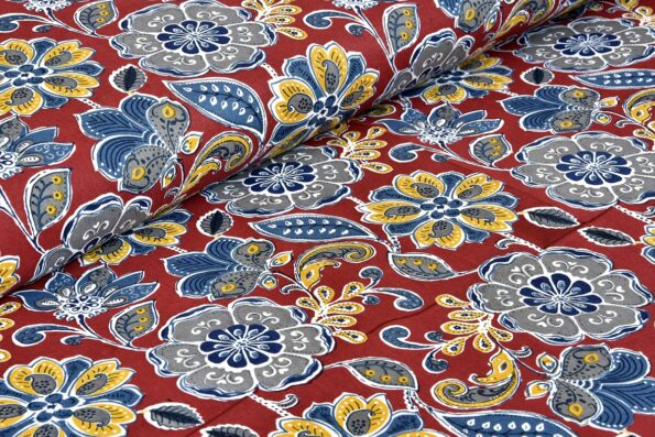 Awesome Mausam Maroon Flower Print Pure Cotton Double Bedsheets