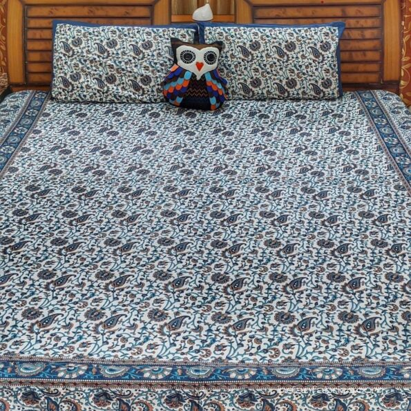 Beautiful Floral Print Blue Double Bedsheet with 2 Pillow Covers Set