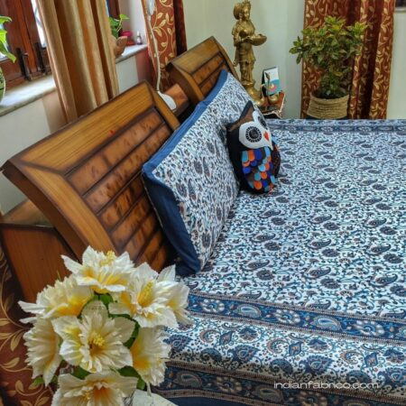Beautiful Floral Print Blue Double Bedsheets Sideview