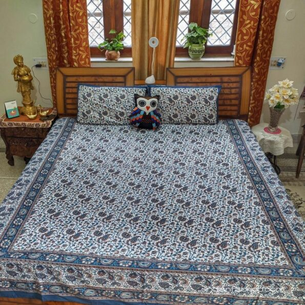 Beautiful Floral Print Blue Double Bedsheets Top