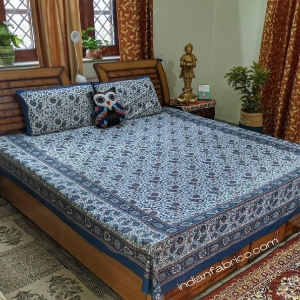 Beautiful Floral Print Blue Double Bedsheets with 2 Pillow Covers Set