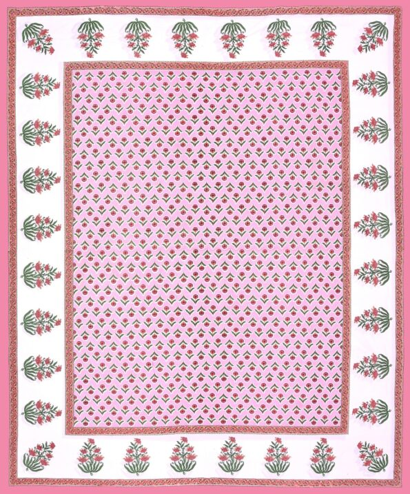 Beautiful Pink Base Floral Print Double Bedsheet Full view