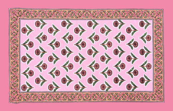 Beautiful Pink Base Floral Print Double Bedsheet Pillow Design