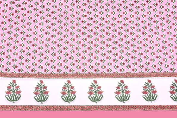 Beautiful Pink Base Floral Print Double Bedsheet Side view