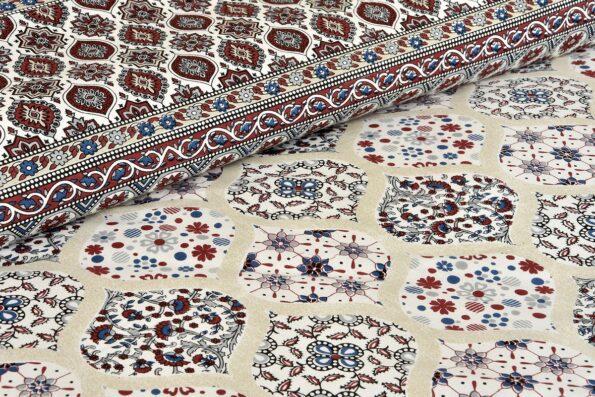 Ethnic Jaipuri Charm Cream Base Maroon Flower Double Bedsheet Base