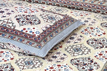 Ethnic Jaipuri Charm Cream Base Maroon Flower Double Bedsheet Closeupp