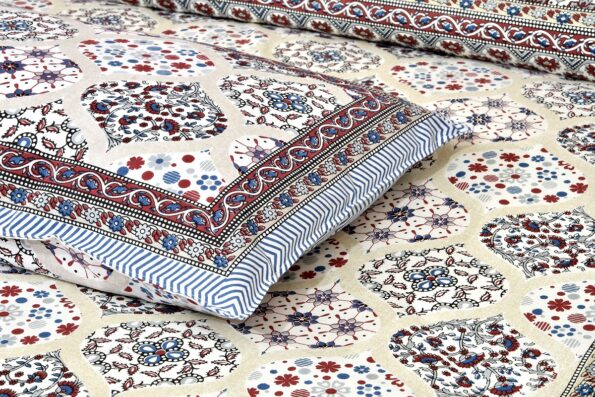 Ethnic Jaipuri Charm Cream Base Maroon Flower Double Bedsheet Closeupp