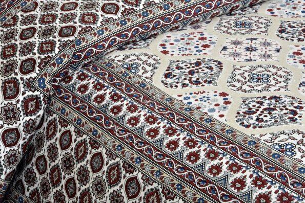 Ethnic Jaipuri Charm Cream Base Maroon Flower Double Bedsheet Closeview