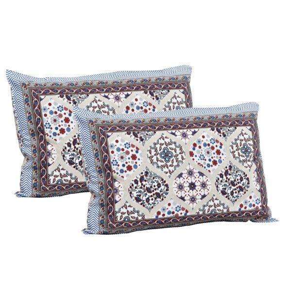Ethnic Jaipuri Charm Cream Base Maroon Flower Double Bedsheet Pillow