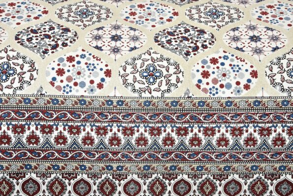 Ethnic Jaipuri Charm Cream Base Maroon Flower Double Bedsheet Side pose