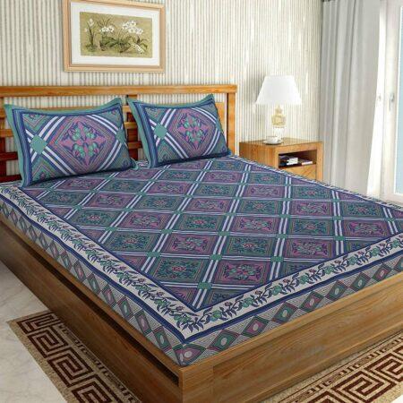 Traditional Sanganeri Print Purple Color Pure Cotton Double Bedsheet