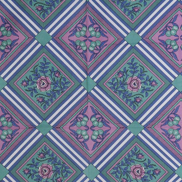 Traditional Sanganeri Print Purple Color Pure Cotton Double Bedsheet Closeup