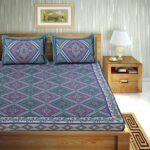 Traditional Sanganeri Print Purple Color Pure Cotton Double Bedsheets