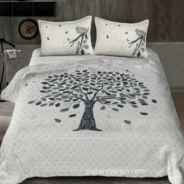 White Base Blue Spring Tree King Size Bedsheet
