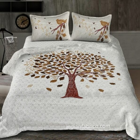 White Base Chocolate Brown Spring Tree King Size Bedsheet