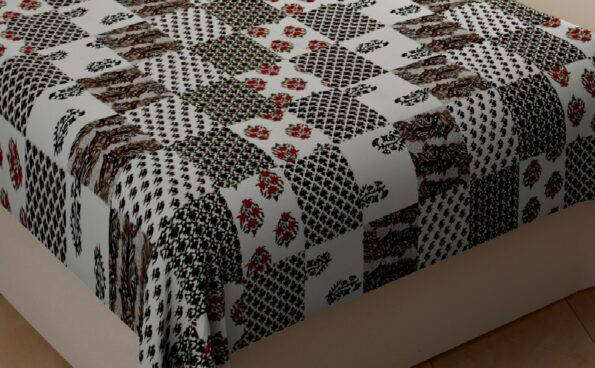 White Base Green Floral Print Single Bed Sheet Closeup