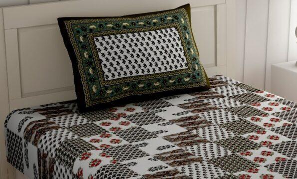 White Base Green Floral Print Single Bed Sheet Pillow