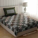 White Base Green Floral Print Single Bed Sheet with One Pillow Cover